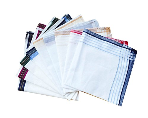 3 Styles of Mens Classic Striped Border Cotton Handkerchiefs Pack-40cm Square by CoCoUSM