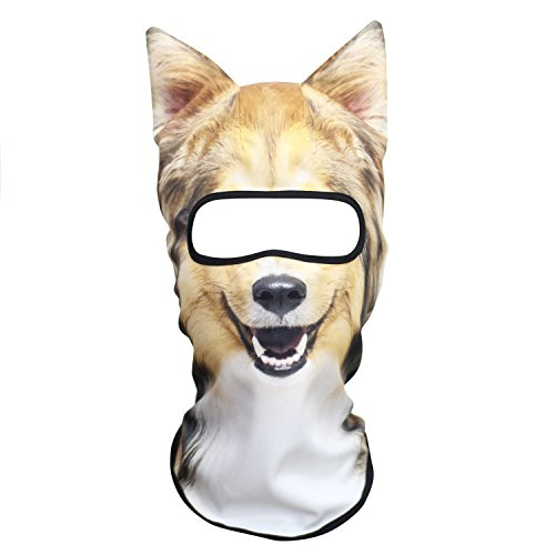 JIUSY 3D Animal Ears Balaclava Windproof Face Mask Cover Protection for Music Festivals Raves Halloween Party Riding Skiing Snowboarding Snowmobile Scottish Shepherd Collie MEB-28
