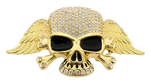 Skull Cross Bones Bling Bling Feather Hip Hop Rhinestones Gold Finishing Belt Buckle.