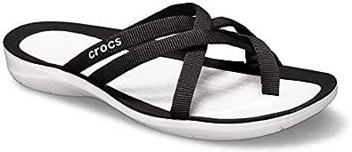Crocs Women's Swiftwater Webbing Flip, Black/White, W4