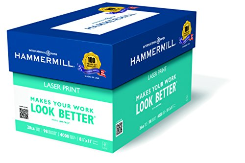 28 Lb Case (Hammermill Paper, Laser Print, 28lb, 8.5 x 11, Letter, 98 Bright, 4000 Sheets / 8 Ream Case (125534C), Made In The)