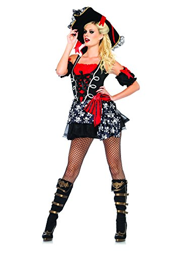 Leg Avenue Women's 2 Piece Buccaneer Babe Costume, Black/Red, Medium/Large -