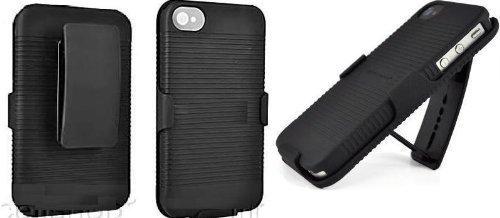 Black Rubberized CASE + Belt Clip Holster for iPhone 4 by SportyGigabite (Iphone 4 Money Clip)