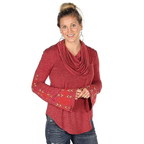 (Roper Apparel Womens Cowl Neck Sweater with Bell Sleeves L Wine)