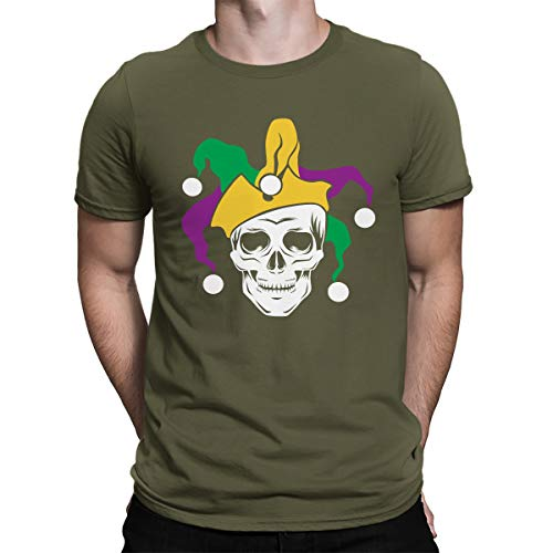 SpiritForged Apparel Mardi Gras Skull Jester Men's T-Shirt, Moss 3XL