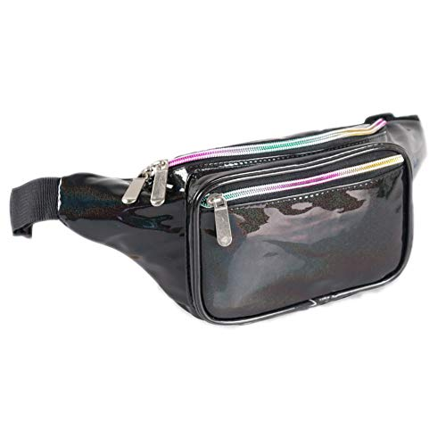 Holographic Fanny Pack for Women - Waist Fanny Pack with Adjustable Belt for Rave, Festival, Travel, Party (Blackberry)