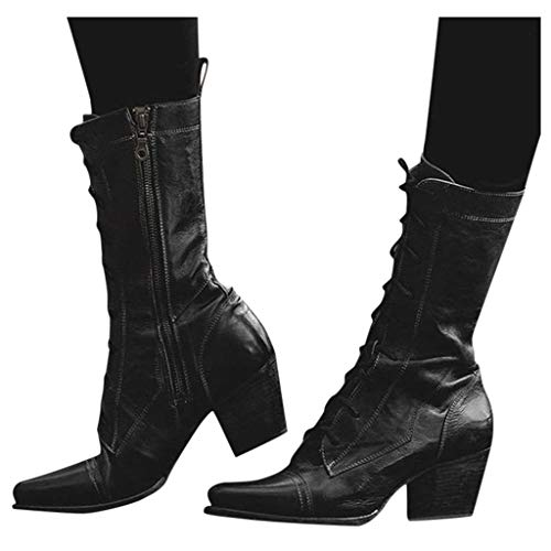 Dasuy Women's Retro Short Boots Leather Lace up Western Cowboy Boot Pointed Toe Stacked Heel Zipper Combat Boots