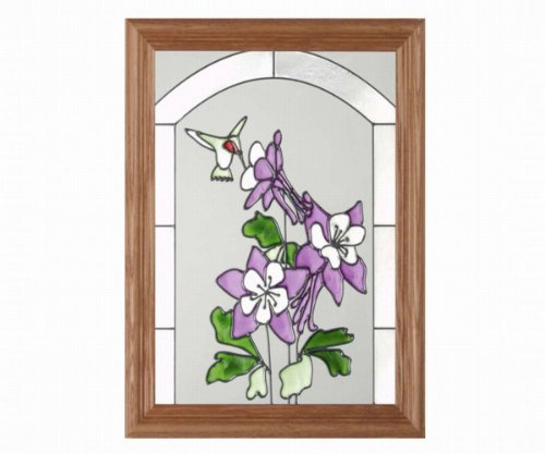 Hummingbird Purple Columbine Vertical Art Glass Panel with Wooden Frame 16 x 13