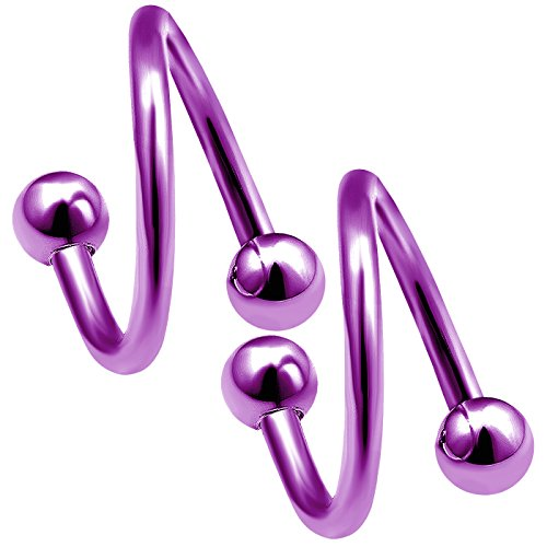 bodyjewellery 2pcs 16g Purple Titanium Twisted Barbell Studs Tragus Bar Hoop Helix Lip Cartilage Twisted Earring Eyebrow (16 Gauge Eyebrow)