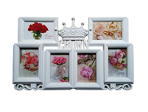 MKUN Wall Picture Frames Collage 4x6, Crown Photo Collage for Little Princess 6-Opening -