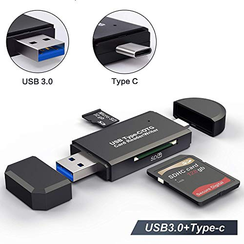 USB Type C SD Card Reader,USB 3.0 SD Card Reader OTG Adapter for SDXC, SDHC, SD, MMC, RS- MMC, Micro SDXC, Micro SD, Micro SDHC Card and UHS-I Cards (Black) (Usb Sdhc Card Adaptor)