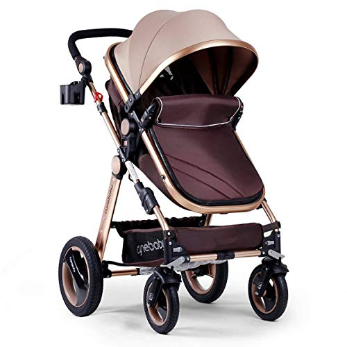41bSKJerXNL - Infant Baby Stroller For Newborn And Toddler - Cynebaby Convertible Bassinet Stroller Compact Single Baby Carriage Toddler Seat Stroller Luxury Pram Stroller Add Cup Holder Footmuff And Stroller Tray