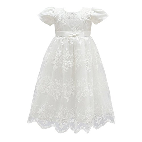 Glamulice Baby Girl Flower Christening Baptism Dress Formal Party Gown Special Occasion Dresses For Toddler,Off White,6-12 Months
