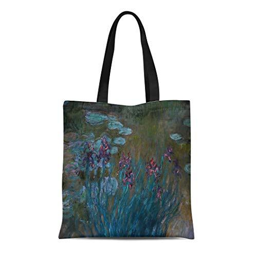 Semtomn Cotton Line Canvas Tote Bag Blue Monet Irises Water Lilies Purple Claude Fine Famous Reusable Handbag Shoulder Grocery Shopping Bags ()