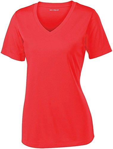 Joe's USA Women's Short Sleeve Moisture Wicking Athletic Shirt-HotCoral-XS by Joe's USA (Image #1)