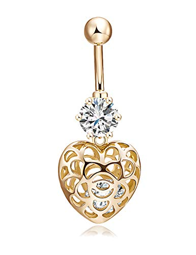 CEYIYA Heart Belly Button Ring - Surgical Steel Dangle Navel Rings 18k Gold/White Gold Plated Ideal Gift for Women/Men/Girls,Short Belly Piercing Jewelry