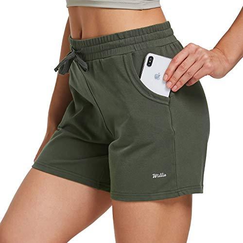"Willit Women's 5"" Yoga Lounge Shorts Bermuda Jersey Cotton Shorts Pajama Walking Casual Shorts Drawstring Pockets"
