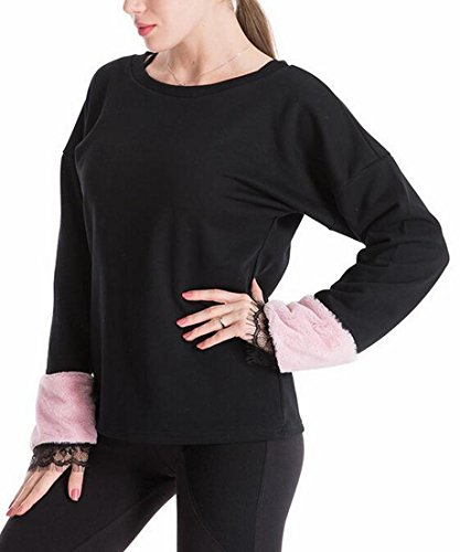 Neck Round Casual today Womens Fur Pullover Faux Sweatshirt UK Stitching Sleeve Black HItwwEq