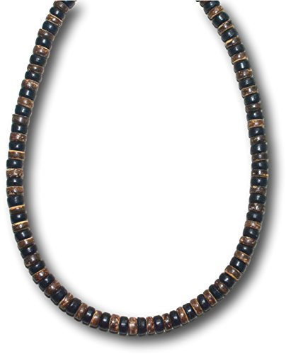 Native Treasure 22 inch Mens Black and Brown Wood Coco Shell Bead Surfer Necklace Choker - 8mm (5/16