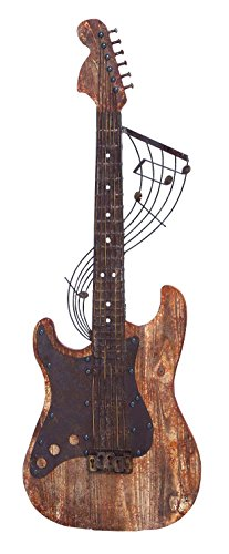 UPC 837303546146, Benzara 54614 Raw Wooden Finish Guitar Wall Decor, 15-Inches