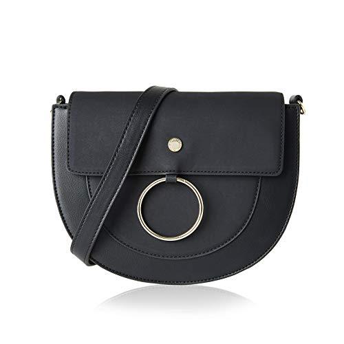 (The Lovely Tote Co. Women's Hasp Crossbody Bag Saddle Bag Shoulder Satchel,One,Black)