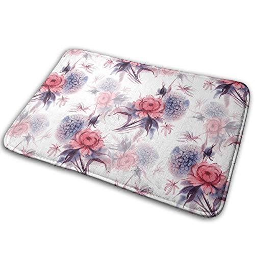 (EWFXZq Hydrangea and Peony Doormat Anti-Slip House Garden Gate Carpet Door Mat Floor Pads 15.7