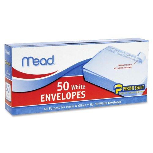 Mead : Plain Envelopes, No 10, Self-Sealing, 50/BX, White -:- Sold as 2 Packs of - 50 - / - Total of 100 (50 Plain Envelopes)