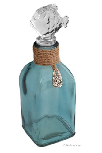 American Chateau Nautical 9oz Glass Apothecary Perfume Bottle with Fish Shaped Stopper