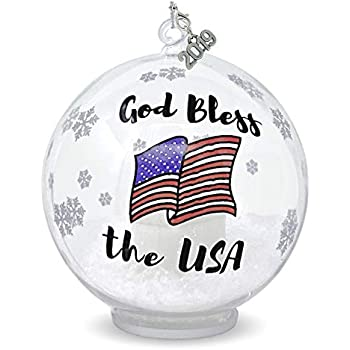 And Blue Flag Design United States Christmas White America Ornament With Red