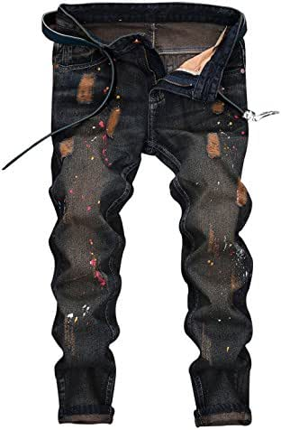 XARAZA Men's Distressed Moto Biker Jeans Straight Slim Fit Denim Pants - Above Ankle Length