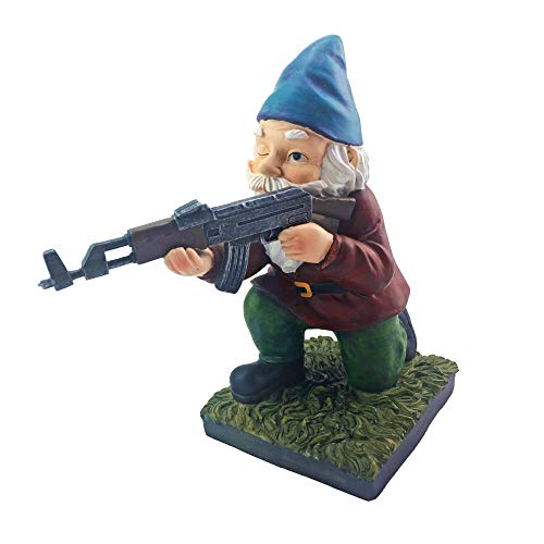 Military Garden Gnome With An AK47 | Funny Army Statue, Perfect For Gun Lovers, Military Collectors, Combat Enthusiasts & Army Men | Indoor & Outdoor Lawn Yard Décor (Kneeling, Traditional)
