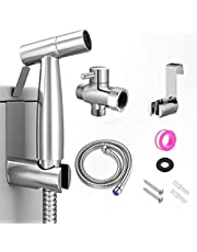 Handheld Toilet Bidet Sprayer, Stainless Steel Cloth Diaper Sprayer Kit with Hose for Baby Diaper Cloth Wash, Feminine Wash, Stainless Steel Cleaner and Pet Shower Sprayer