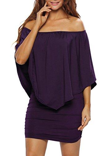 be965a0b9 Sidefeel Women Plus Size Off Shoulder Ruffles Bodycon Midi Dress XXX-Large  Purple