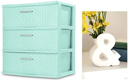 BLOSSOMZ Wide Weave Tower with Vase Classic Mint, 3-Drawer