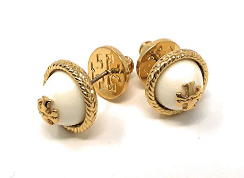 (Tory Burch Lope Pearl Dome Stud Earrings White Goldtone with Dust Cover)