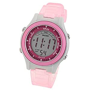 Girls Children Digital LCD Wrist Sports Alarm Watch Stopwatch Pink