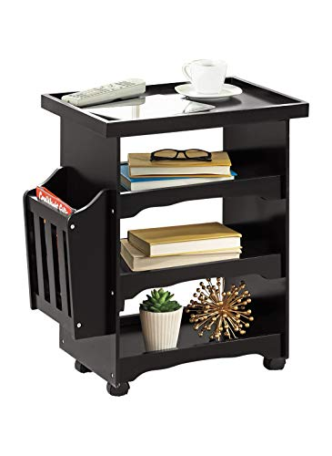 Carol Wright Gifts Rolling Side Table and End Table with Wheels and Storage Space | 4 Tier Small Rolling Cart with Magazine Rack, Color Black, Black