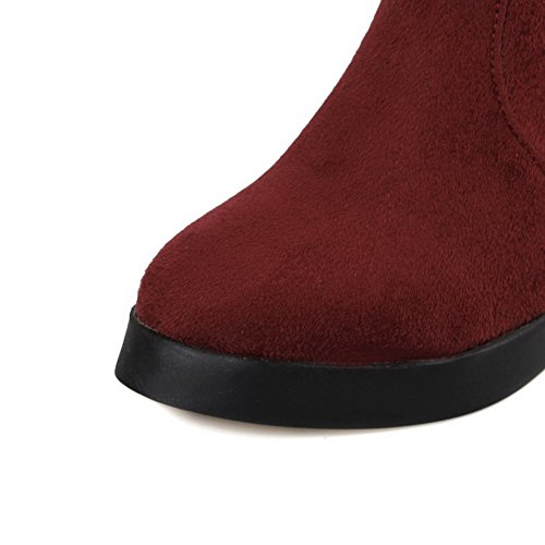 Allhqfashion Women's High-Heels Frosted Low-top Solid Zipper Boots Claret dev2pu