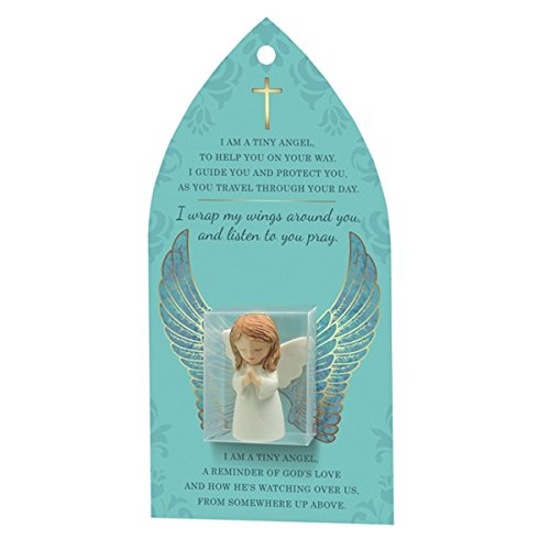 TINY Resin GUARDIAN ANGEL - Carded with Verse - CHRISTIAN GIFT - For Desktop of Dashboard - INSPIRATIONAL (Tiny Resin)
