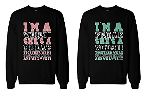 365 Printing Freak and Weirdo Matching BFF Sweatshirts Cute Sweater for Best Friends 365 Printing Inc FSS014