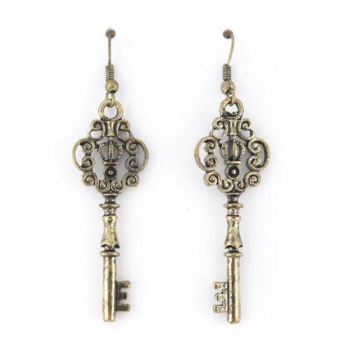 Vintage Feel Gold Tone Double Sides Crown Key Drop (Key Earrings)