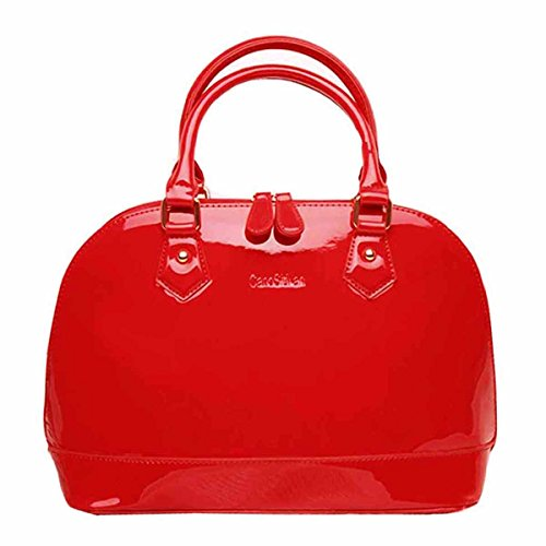 - Heidi Bag Women's Patent Leather Dome Satchel Handbag Tote Chinese Bride Bag Red