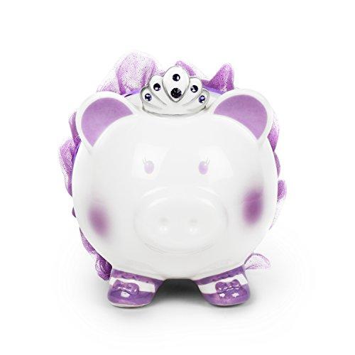 Swarovski with Crown Princess Porcelain Piggy Bank for Kids by FAB Starpoint (Purple)