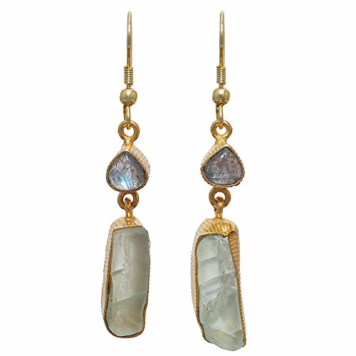 - Sitara Collections SC10302 Gold-Plated Rough Gemstone Earrings, Two-Stone Labradorite and Fluorite