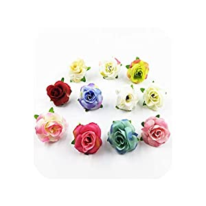 meiguiyuan 20pieces 4cm Artificial Silk Rose Flower Head Scrapbooking Flowers Ball for Wedding Decoration DIY Wreath Gift Box Party Design 72