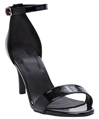 Cambridge Selezionare Donna Open Toe Single Band Fibbia Alla Caviglia Con Cinturino Stiletto Tacco Medio Sandalo Nero Vernice Pu