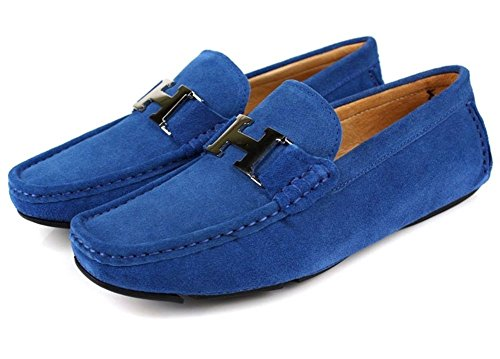Santimon Uomo Slip-on Casual Fibbia Mocassino Driving Mens Scarpe Da Auto Moc Scarpe Blu