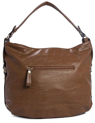 Big Zip Leather Shoulder Multipurpose Black Vegan Zip Top Bag Handbag Large Effect Shop Opening Plain Womens 8rRrIOnq