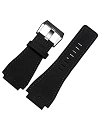 Black Leather Watch Strap 24mm Suitable BR01 BR03 Bell&Ross MILITARY Band Buckle