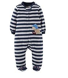 Carters Preemie NewBorn Baby Boy Micro Fleece Sleeper Child of Mine (Preemie, Navy Stripe Football)